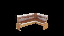 Кантри кухонная скамья Т1 исп.1 каркас: Ольха; кожзам: Коричневый (1780×1350×810)