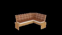 Кантри кухонная скамья Т1 исп.2 каркас: Ольха; кожзам: Коричневый (1780×1350×810)
