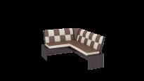 Кантри кухонная скамья Т1 исп.3 Каркас: Венге; Кожзам: темно-коричневый (1780×1350×810)