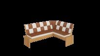 Кантри кухонная скамья Т1 исп.3 каркас: Ольха; кожзам: Коричневый (1780×1350×810)
