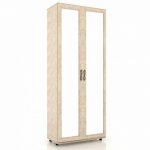 Александрия Шкаф двухстворчатый двери с зеркалом (кожа ленто) ЛД 125.020.125.001 (888х2160х460)
