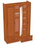 Аврора Шкаф трехстворчатый (вишня оксфорд) ЛД 504.030 (1350х2106х473)