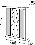 Саванна Шкаф для одежды 4-х дверный с зеркалом (1466х1956х542)