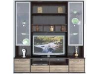 Амадеус цвет зебрано/венге Секция с прозрачным стеклом 2100х505х2190