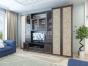 Гостиная Марина правая. Корпус Chesterfild Oak - Фасад Granite Rose. 3239x624х2349