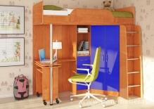 Кровать-чердак АРТ-МАНГО (синий  левый)