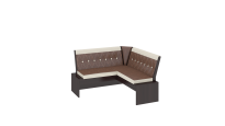 Кантри кухонная скамья Т2 исп.1 каркас: Венге; Кожзам: темно-коричневый (1350×1350×810)