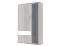Скала шкаф витрина левый СТЛ.136.20 (960x1536x360) Дуб Сантана/Белый Глянец