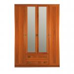 Джорджия итальянский орех СБ-074 Шкаф 4-х дверный с 2-мя зеркалами (1600х2235х590)