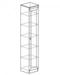 Гостиная Инна Шкаф для посуды 602 денвер темный (400х368х2248) Фасад - стекло. Полки - стекло
