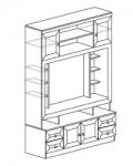 Гостиная Инна Шкаф 603 денвер темный (1600х468х2248) Размер ниши под ТВ 1120х960