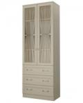 Детская Дженни СТЛ.127.18 Шкаф со стеклом 2-х дверный с 3 ящиками (792х446х2226)