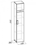 Гипер Шкаф для белья 2 (венге) (400х2113х389)