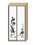 Шкаф-купе Оптима-14 Дверь зеркало с пескоструйной обработкой рисунок 1-2 ОШ-4-7-66 1426х480х2290