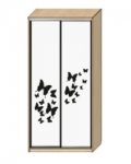 Шкаф-купе Оптима-14 Дверь зеркало с пескоструйной обработкой рисунок 5-6 ОШ-4-7-66 1426х480х2290