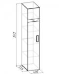 Гипер Шкаф для белья 1 (фасад Палисандр) (400х2113х579)