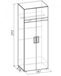 Гипер Шкаф для одежды 1 (фасад Венге) (797х2113х579)