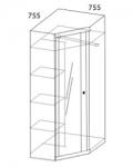 Прихожая Камелия Шкаф угловой с зеркалом 4 502х425х2100