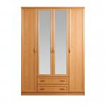 Джорджия ольха СБ-074 Шкаф 4-х дверный с 2-мя заркалами (1600х2235х590)