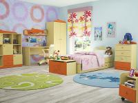 Модульная детская Денди (бежевый/оранжевый)