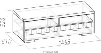 CITY Тумба ТВ (дуб отбеленый) (1498х520х611)