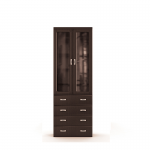 Вива венге СБ-641 Шкаф с витриной и ящиками (800х2251х365)